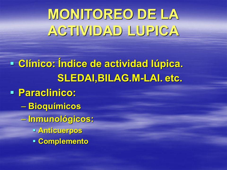MONITOREO DE LA ACTIVIDAD LUPICA Clínico: Índice de actividad lúpica. Clínico: Índice de actividad lúpica. SLEDAI,BILAG.M-LAI. etc. SLEDAI,BILAG.M-LAI