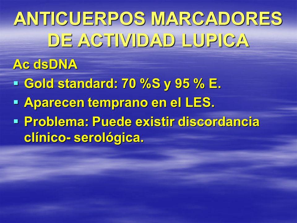 ANTICUERPOS MARCADORES DE ACTIVIDAD LUPICA Ac dsDNA Gold standard: 70 %S y 95 % E. Gold standard: 70 %S y 95 % E. Aparecen temprano en el LES. Aparece