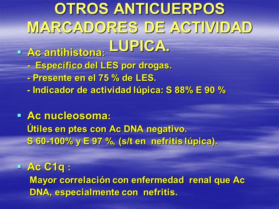OTROS ANTICUERPOS MARCADORES DE ACTIVIDAD LUPICA. Ac antihistona : Ac antihistona : - Específico del LES por drogas. - Específico del LES por drogas.