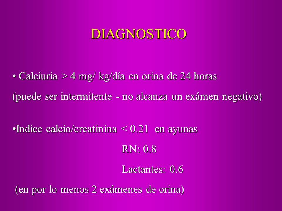 Calciuria > 4 mg/ kg/día en orina de 24 horas Calciuria > 4 mg/ kg/día en orina de 24 horas (puede ser intermitente - no alcanza un exámen negativo) I