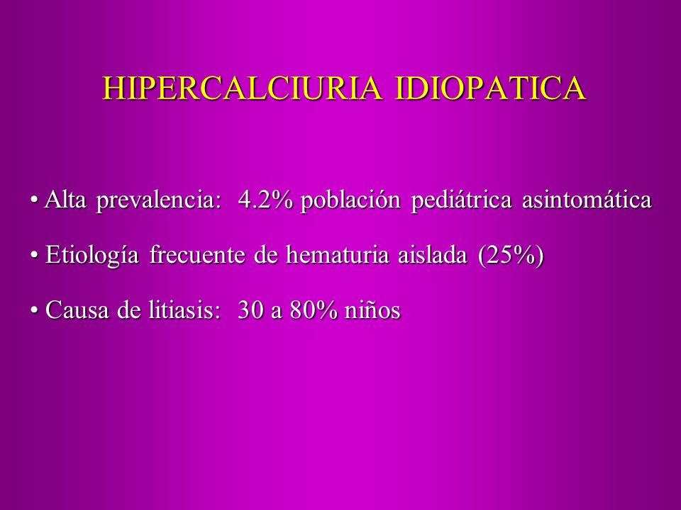 HIPERCALCIURIA IDIOPATICA Alta prevalencia: 4.2% población pediátrica asintomática Alta prevalencia: 4.2% población pediátrica asintomática Etiología
