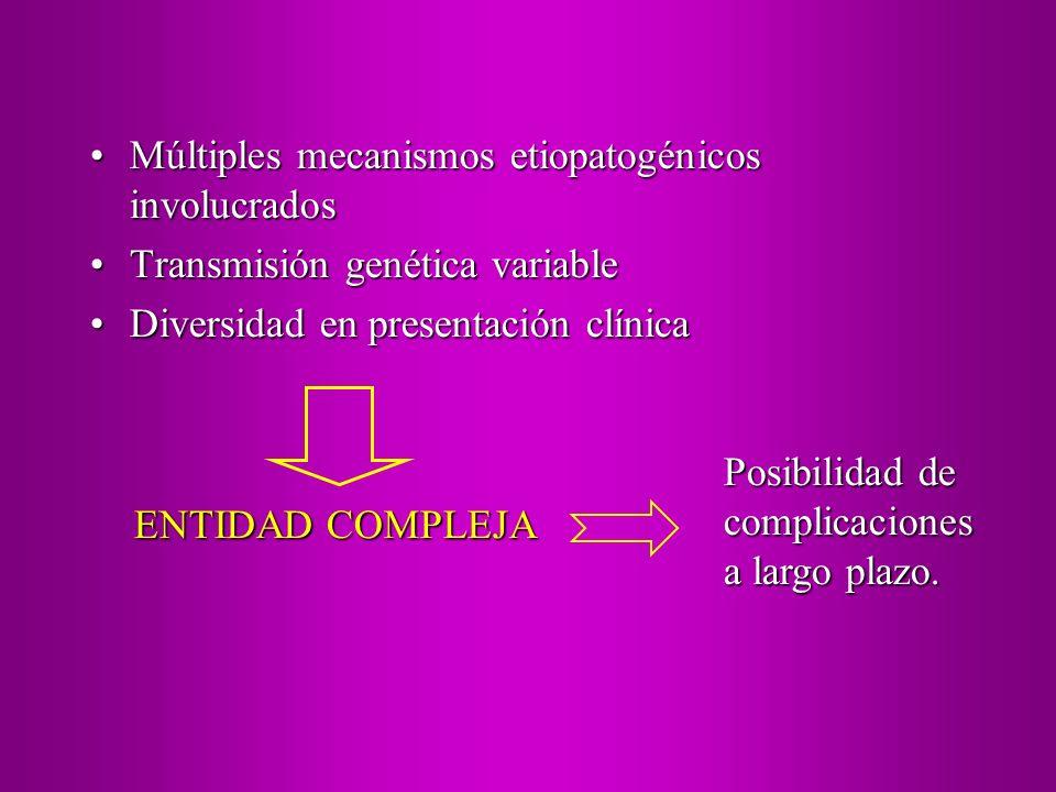 Múltiples mecanismos etiopatogénicos involucradosMúltiples mecanismos etiopatogénicos involucrados Transmisión genética variableTransmisión genética v