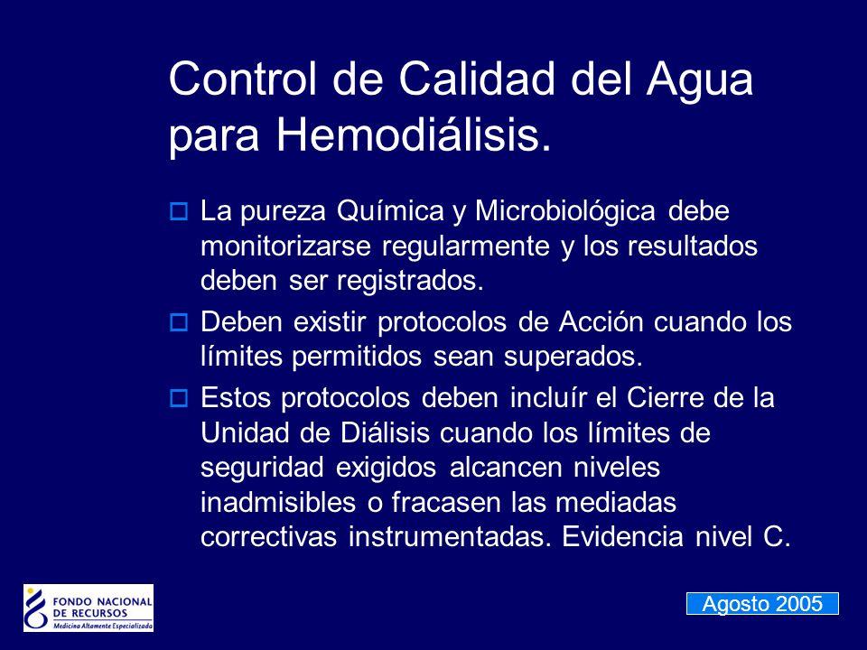 Control de Calidad del Agua para Hemodiálisis. La pureza Química y Microbiológica debe monitorizarse regularmente y los resultados deben ser registrad