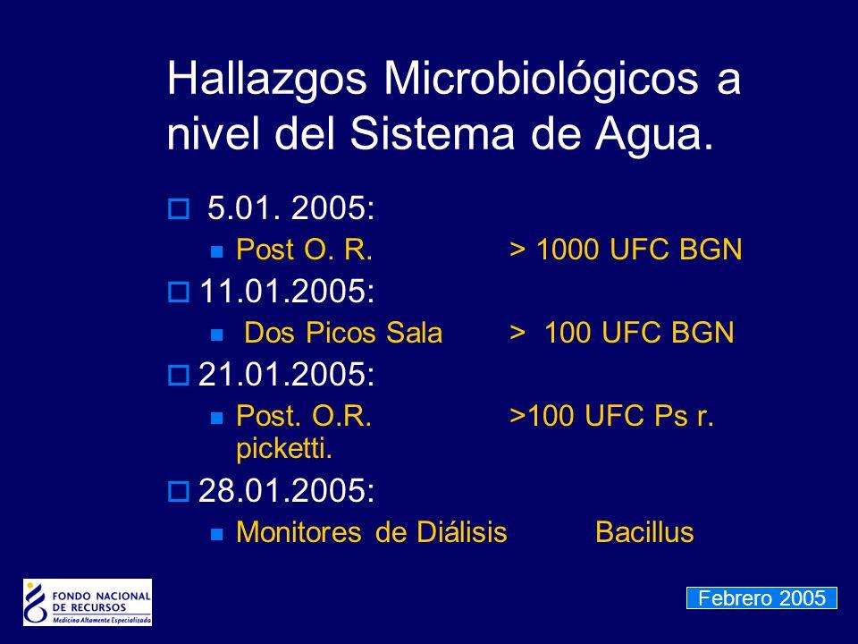 Hallazgos Microbiológicos a nivel del Sistema de Agua. 5.01. 2005: Post O. R. > 1000 UFC BGN 11.01.2005: Dos Picos Sala> 100 UFC BGN 21.01.2005: Post.