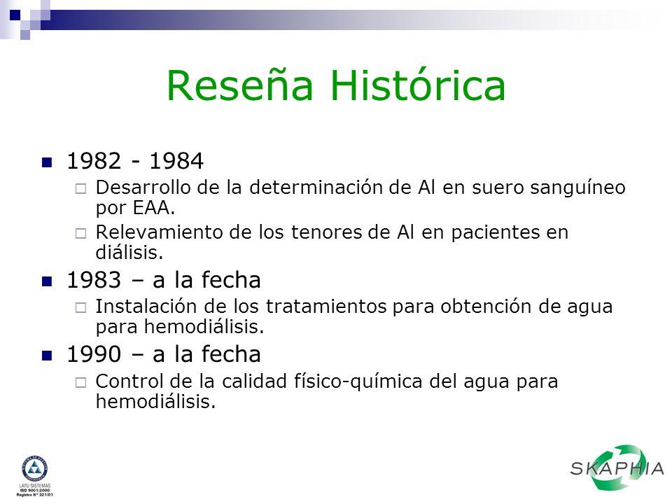 Reseña Histórica 1982 - 1984 Desarrollo de la determinación de Al en suero sanguíneo por EAA. Relevamiento de los tenores de Al en pacientes en diális