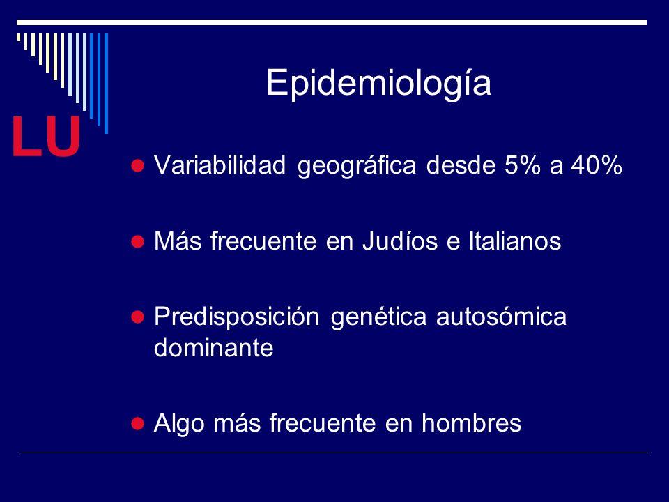 LU Epidemiología Variabilidad geográfica desde 5% a 40% Más frecuente en Judíos e Italianos Predisposición genética autosómica dominante Algo más frecuente en hombres