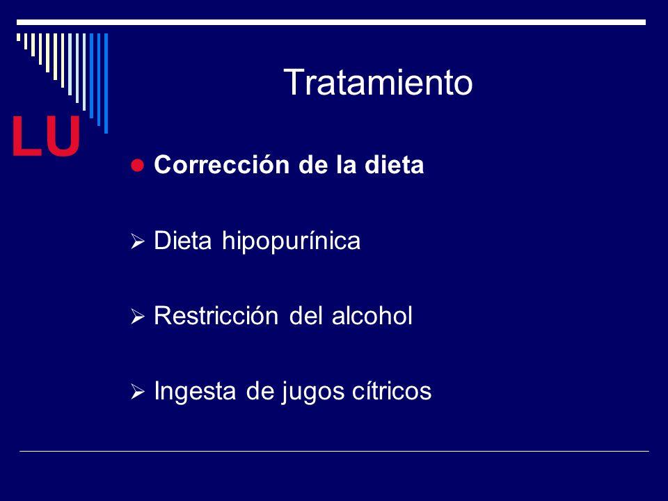 LU Tratamiento Corrección de la dieta Dieta hipopurínica Restricción del alcohol Ingesta de jugos cítricos