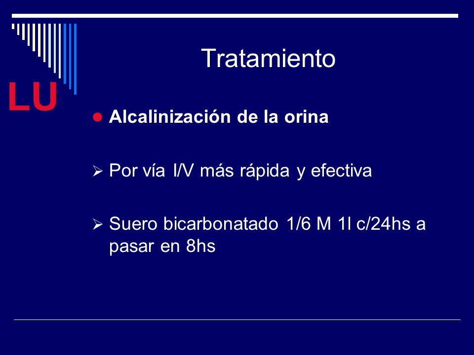LU Tratamiento Alcalinización de la orina Por vía I/V más rápida y efectiva Suero bicarbonatado 1/6 M 1l c/24hs a pasar en 8hs