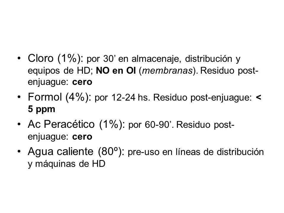 Mantenimiento de la calidad: sanitizado Cloro (1%): por 30 en almacenaje, distribución y equipos de HD; NO en OI (membranas). Residuo post- enjuague: