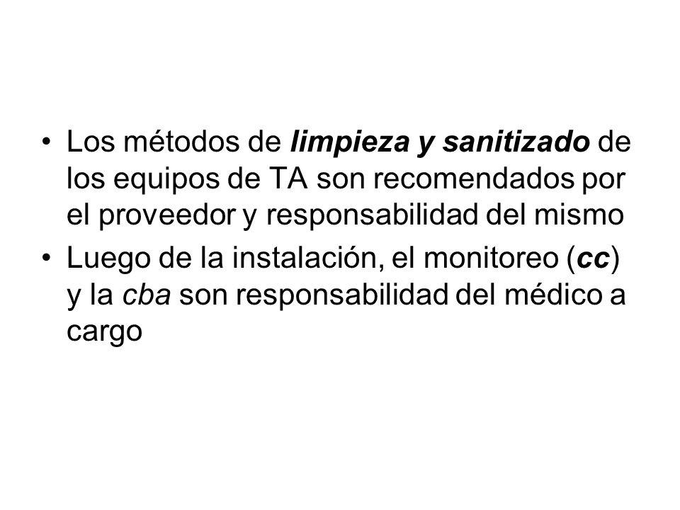 Calidad bacteriológica - cba Los métodos de limpieza y sanitizado de los equipos de TA son recomendados por el proveedor y responsabilidad del mismo L