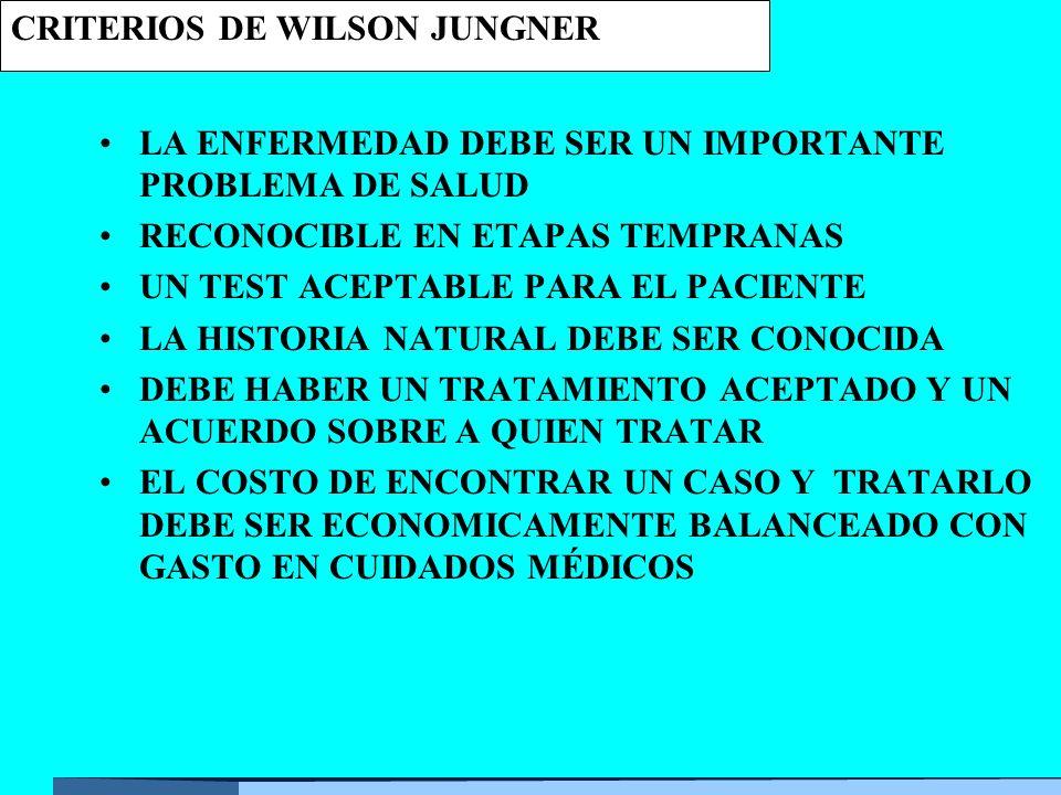 CRITERIOS DE WILSON JUNGNER LA ENFERMEDAD DEBE SER UN IMPORTANTE PROBLEMA DE SALUD RECONOCIBLE EN ETAPAS TEMPRANAS UN TEST ACEPTABLE PARA EL PACIENTE LA HISTORIA NATURAL DEBE SER CONOCIDA DEBE HABER UN TRATAMIENTO ACEPTADO Y UN ACUERDO SOBRE A QUIEN TRATAR EL COSTO DE ENCONTRAR UN CASO Y TRATARLO DEBE SER ECONOMICAMENTE BALANCEADO CON GASTO EN CUIDADOS MÉDICOS