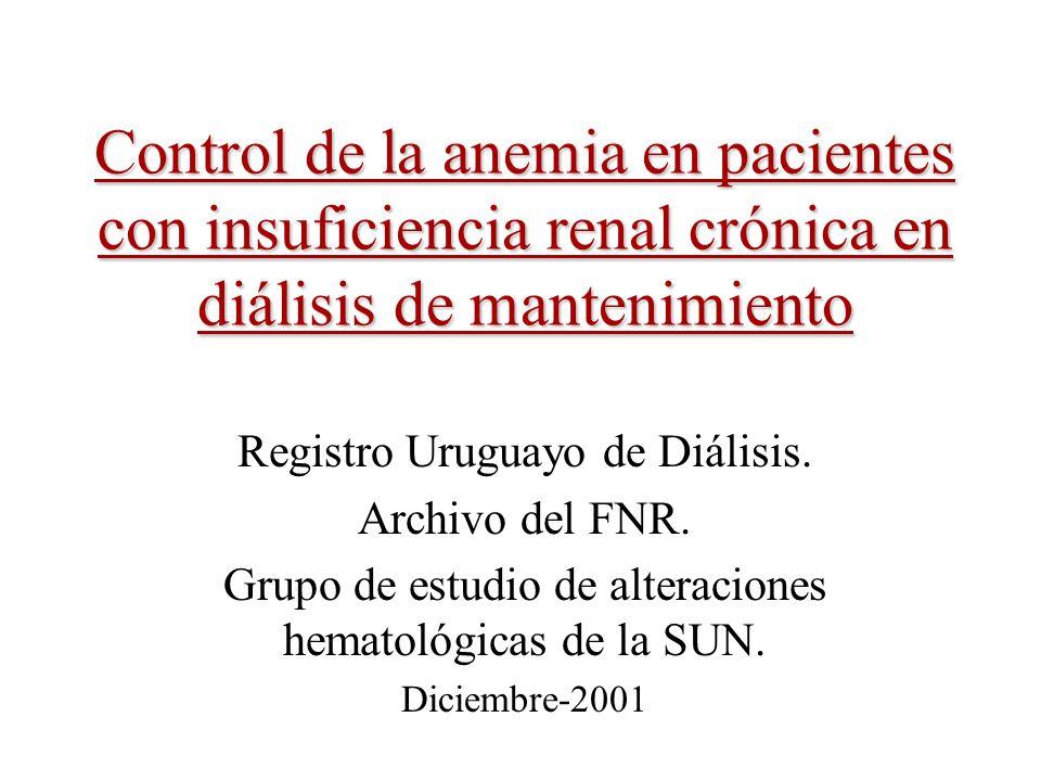 Control de la anemia en pacientes con insuficiencia renal crónica en diálisis de mantenimiento Registro Uruguayo de Diálisis. Archivo del FNR. Grupo d