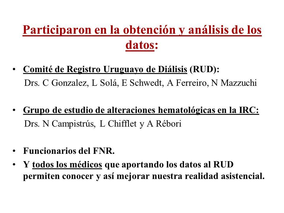 Participaron en la obtención y análisis de los datos: Comité de Registro Uruguayo de Diálisis (RUD): Drs. C Gonzalez, L Solá, E Schwedt, A Ferreiro, N