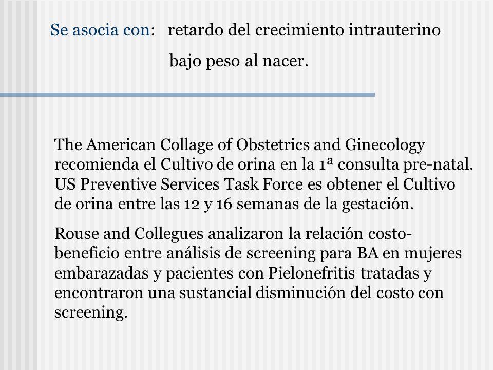 Se asocia con: retardo del crecimiento intrauterino bajo peso al nacer. The American Collage of Obstetrics and Ginecology recomienda el Cultivo de ori