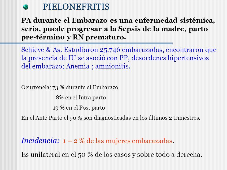 PIELONEFRITIS PA durante el Embarazo es una enfermedad sistémica, seria, puede progresar a la Sepsis de la madre, parto pre-término y RN prematuro. Sc