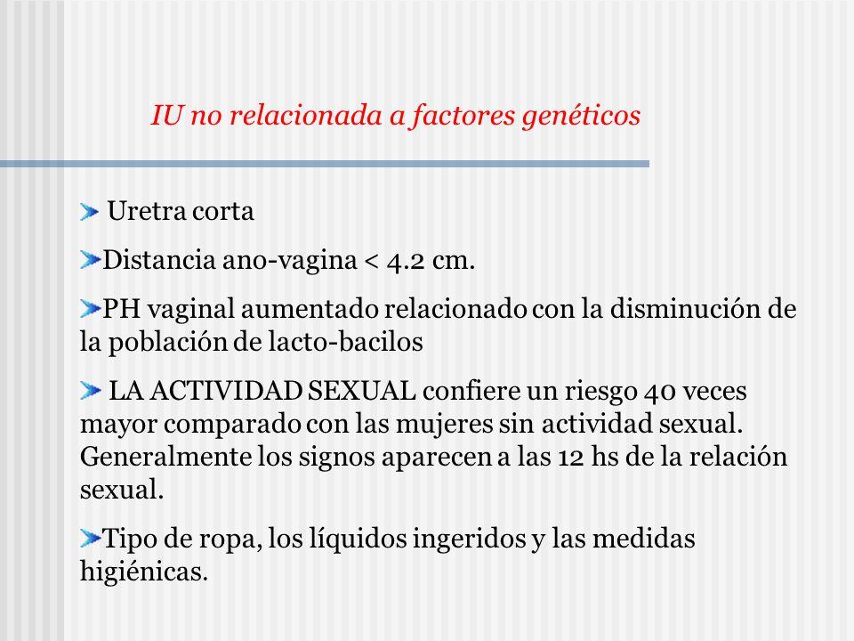 Uretra corta Distancia ano-vagina < 4.2 cm. PH vaginal aumentado relacionado con la disminución de la población de lacto-bacilos LA ACTIVIDAD SEXUAL c