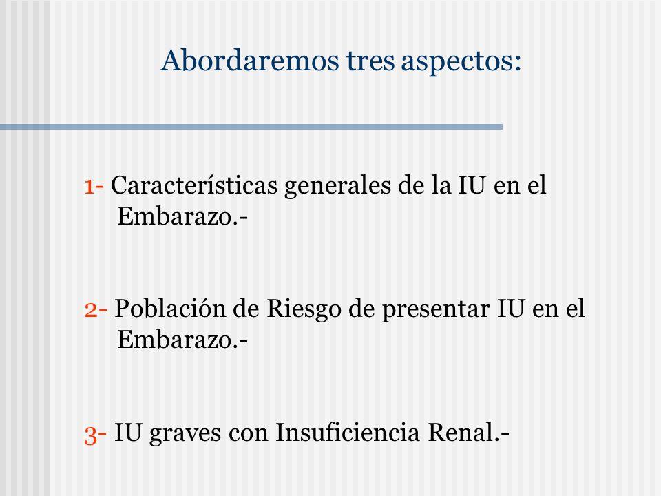Abordaremos tres aspectos: 1- Características generales de la IU en el Embarazo.- 2- Población de Riesgo de presentar IU en el Embarazo.- 3- IU graves