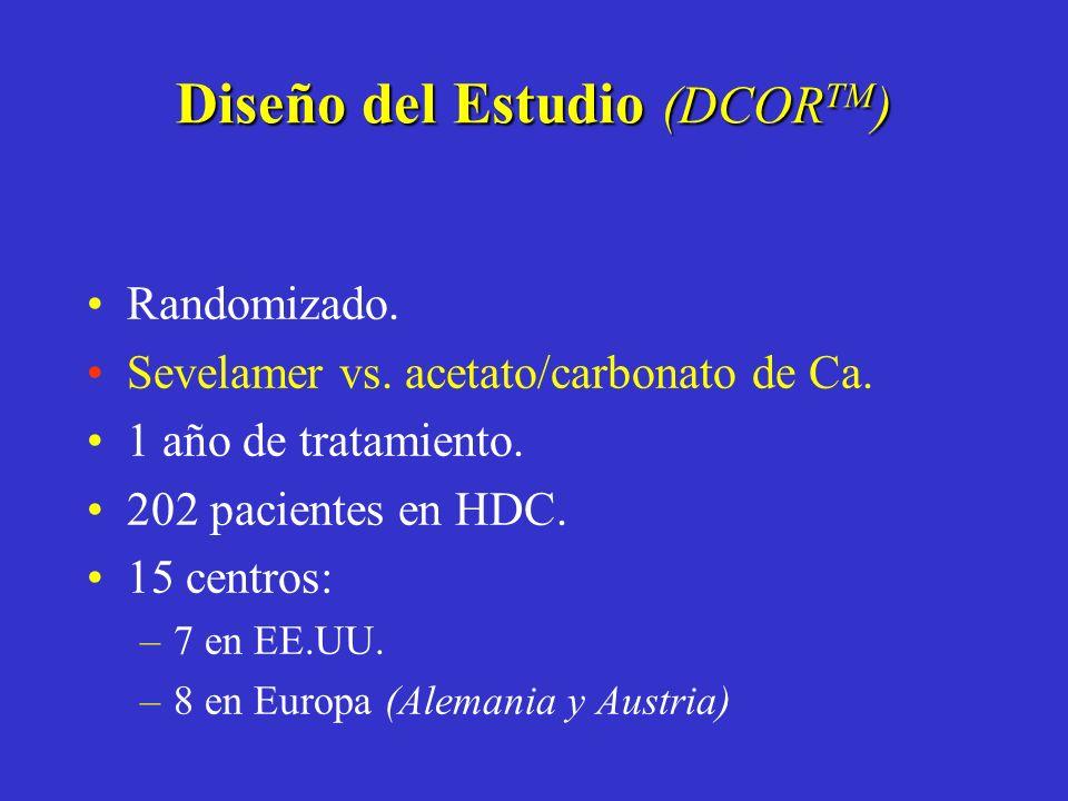 Randomizado. Sevelamer vs. acetato/carbonato de Ca. 1 año de tratamiento. 202 pacientes en HDC. 15 centros: –7 en EE.UU. –8 en Europa (Alemania y Aust