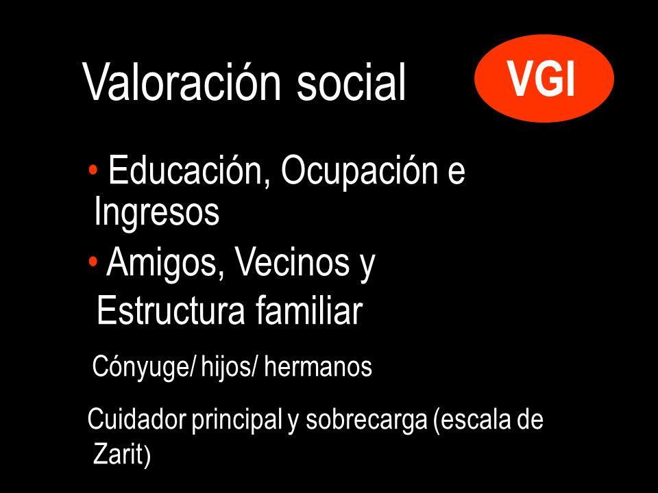 VGI Valoración social Educación, Ocupación e Ingresos Amigos, Vecinos y Estructura familiar Cónyuge/ hijos/ hermanos Cuidador principal y sobrecarga (escala de Zarit )