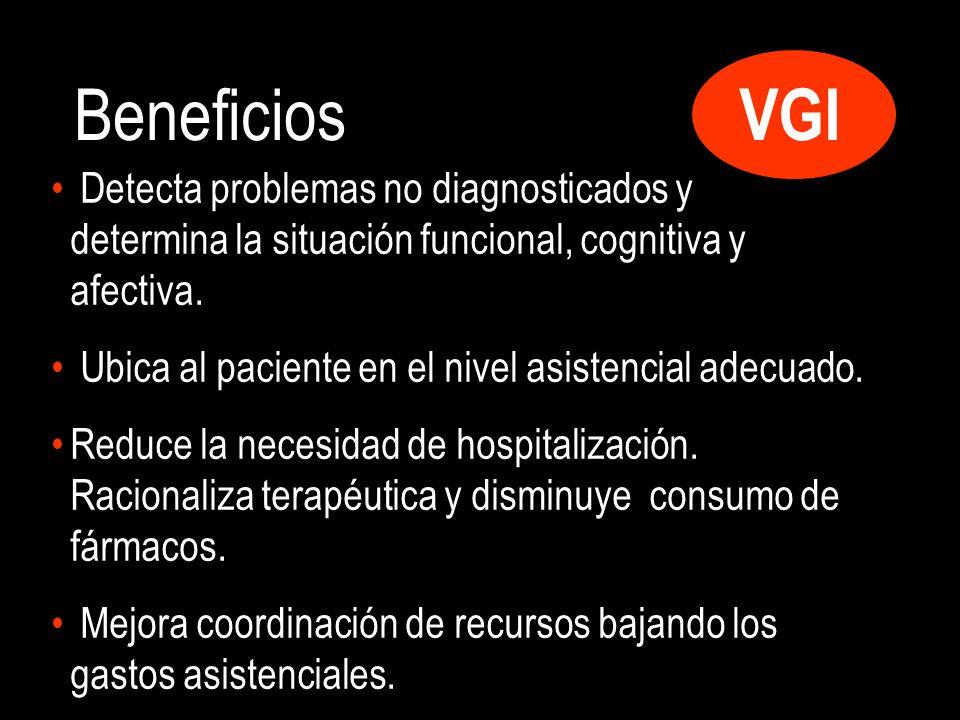 VGI Beneficios Detecta problemas no diagnosticados y determina la situación funcional, cognitiva y afectiva.