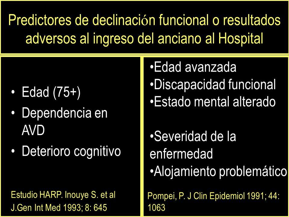 Edad (75+) Dependencia en AVD Deterioro cognitivo Edad avanzada Discapacidad funcional Estado mental alterado Severidad de la enfermedad Alojamiento problemático Estudio HARP.