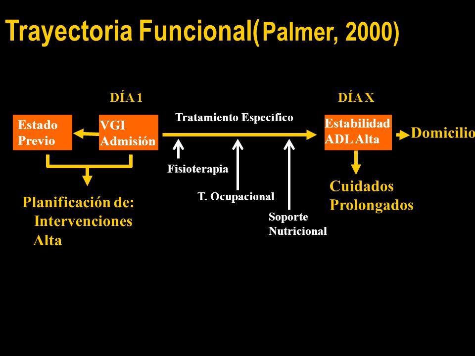DÍA 1DÍA X Tratamiento Específico Domicilio Cuidados Prolongados Estabilidad ADL Alta VGI Admisión Estado Previo Fisioterapia T.
