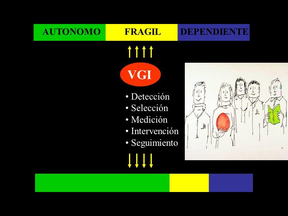 AUTONOMO Detección Selección Medición Intervención Seguimiento DEPENDIENTE VGI FRAGIL