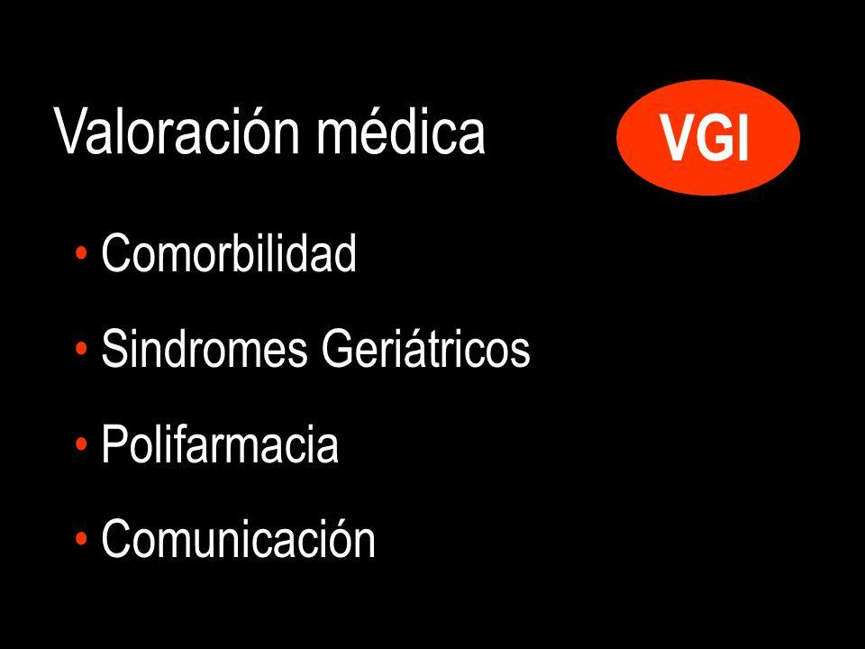 VGI Valoración médica Comorbilidad Sindromes Geriátricos Polifarmacia Comunicación