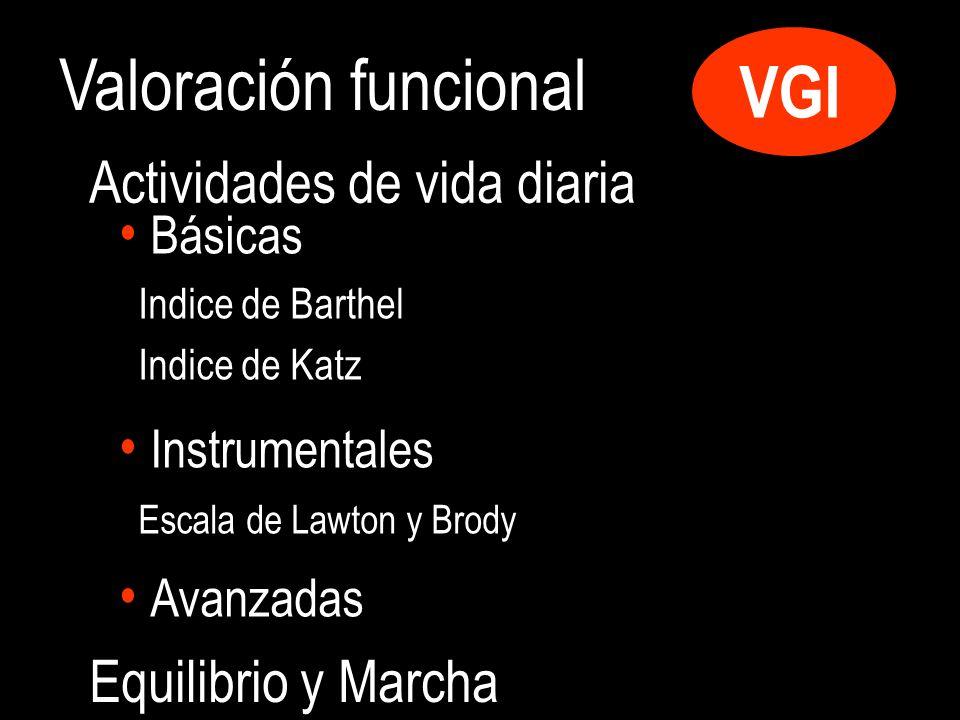 Valoración funcional VGI Básicas Indice de Barthel Indice de Katz Instrumentales Escala de Lawton y Brody Avanzadas Actividades de vida diaria Equilibrio y Marcha