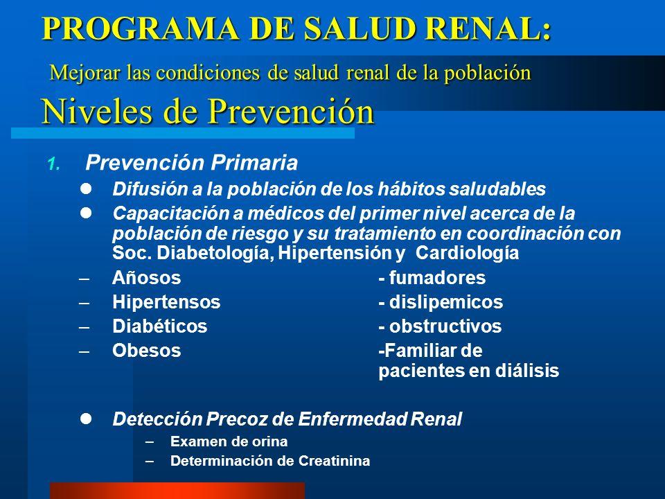 PROGRAMA DE SALUD RENAL Antecedentes: –Programa de Prevención de Glomerulopatías (1989) –Taller de Salud Renal (abril 2004, OPS) Elaborado por la SUN,