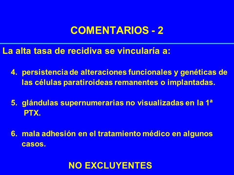 COMENTARIOS - 2 La alta tasa de recidiva se vincularía a: 4. persistencia de alteraciones funcionales y genéticas de las células paratiroideas remanen
