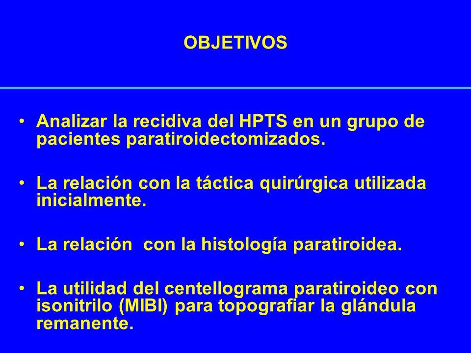 RECIDIVA DE HPTS Reaparición de los síntomas, alteraciones humorales y/o radiológicas luego de 6 meses de la PTX.