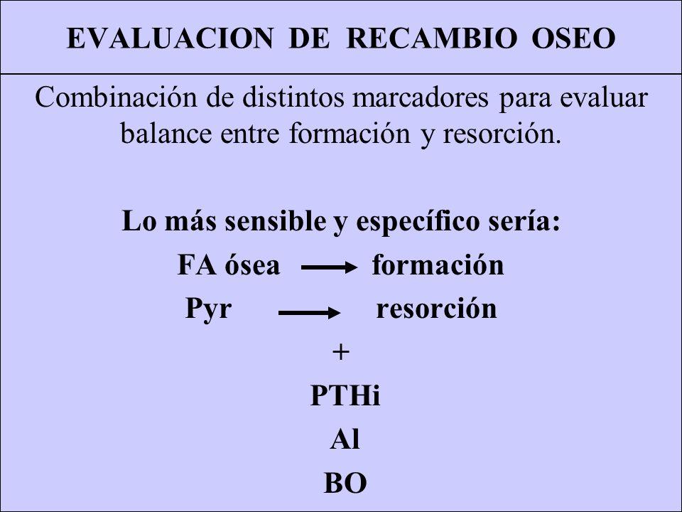 EVALUACION DE RECAMBIO OSEO Combinación de distintos marcadores para evaluar balance entre formación y resorción. Lo más sensible y específico sería: