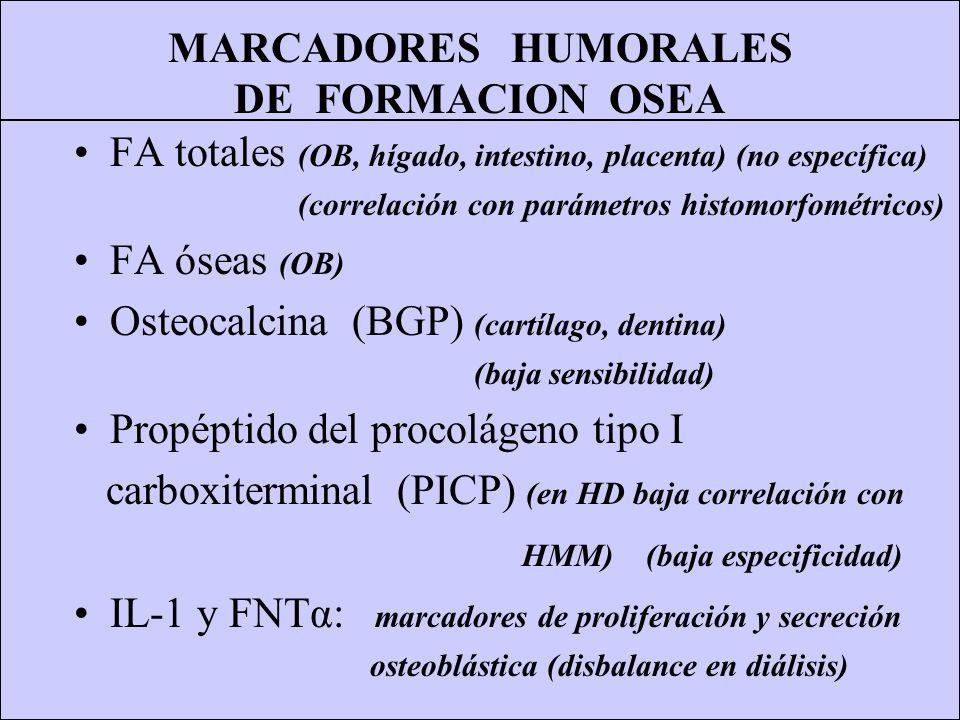MARCADORES HUMORALES DE RESORCION OSEA Fosfatasa ácida tartrato-resistente (FATR) (no es producida sólo por OC) Telopéptido del colágeno tipo I (ICTP) (muy poco sensible en la uremia; en IRC) Piridinolina (Pyr libre y total) (buena correlación con OC y superficie osteoclástica) Deoxipiridinolina (Dpy libre y total) (Pyr y Dpy no disponibles para uso clínico) IL-6: acción resortiva (disbalance en diálisis)