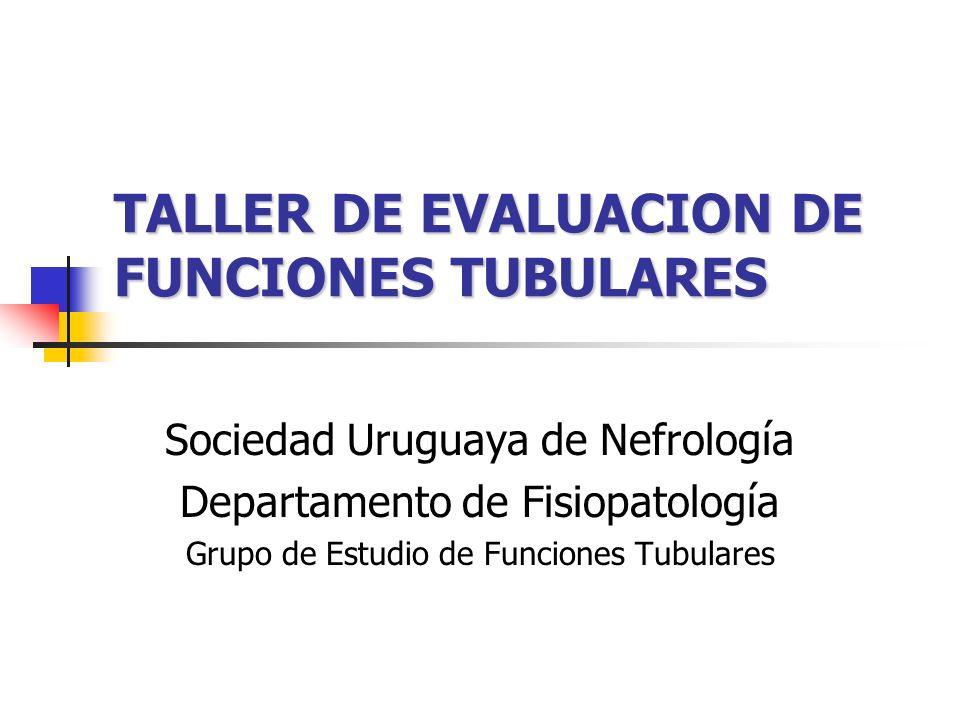 EVALUACION FUNCIONAL TUBULAR RENAL CAPACIDAD DE CONCENTRACIÓN URINARIA CAPACIDAD DE CONCENTRACIÓN URINARIA POST AYUNO HÍDRICO POST HAD CAPACIDAD DE ACIDIFICACIÓN CAPACIDAD DE ACIDIFICACIÓN BASAL POST SOBRECARGA ACIDA EXCRECIÓN / REABSORCIÓN DE SOLUTOS EXCRECIÓN / REABSORCIÓN DE SOLUTOS POTASIO, CALCIO, FOSFORO, MAGNESIO REABSORCIÓN DE GLUCOSA / PBPM REABSORCIÓN DE GLUCOSA / PBPM