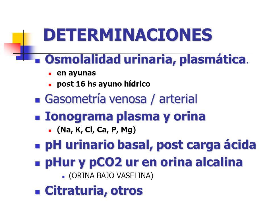 CALCULOS Gradiente trantubular de potasio Vacío Aniónico plasmático Relación Na / Cl Vacío Aniónico urinario Vacío Osmolar