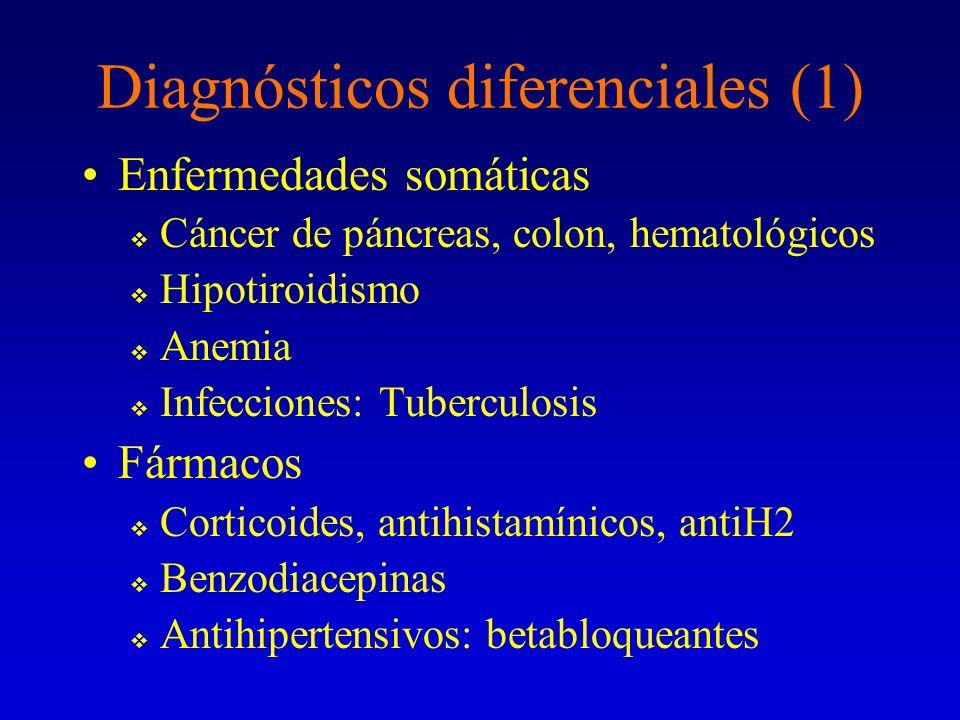 Diagnósticos diferenciales (1) Enfermedades somáticas Cáncer de páncreas, colon, hematológicos Hipotiroidismo Anemia Infecciones: Tuberculosis Fármaco