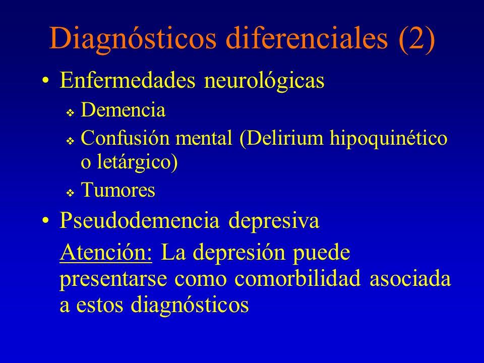 Diagnósticos diferenciales (2) Enfermedades neurológicas Demencia Confusión mental (Delirium hipoquinético o letárgico) Tumores Pseudodemencia depresi