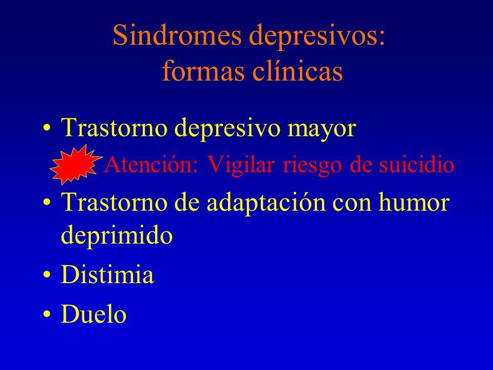 Sindromes depresivos: formas clínicas Trastorno depresivo mayor Atención: Vigilar riesgo de suicidio Trastorno de adaptación con humor deprimido Disti