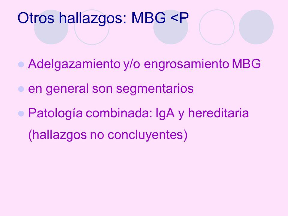 Otros hallazgos: MBG <P Adelgazamiento y/o engrosamiento MBG en general son segmentarios Patología combinada: IgA y hereditaria (hallazgos no concluye