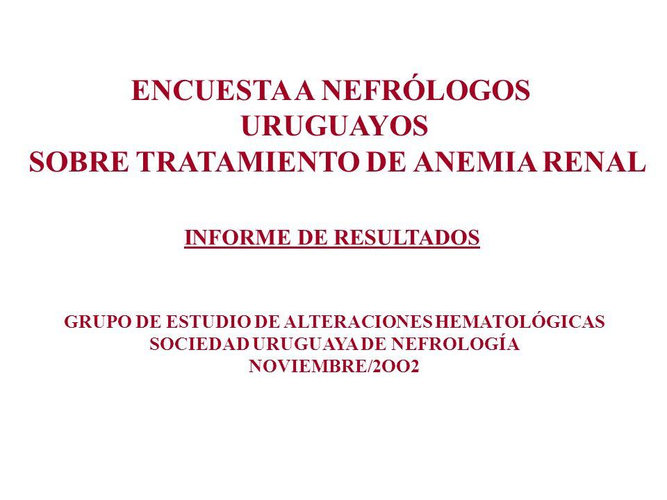 ENCUESTA A NEFRÓLOGOS URUGUAYOS SOBRE TRATAMIENTO DE ANEMIA RENAL INFORME DE RESULTADOS GRUPO DE ESTUDIO DE ALTERACIONES HEMATOLÓGICAS SOCIEDAD URUGUA