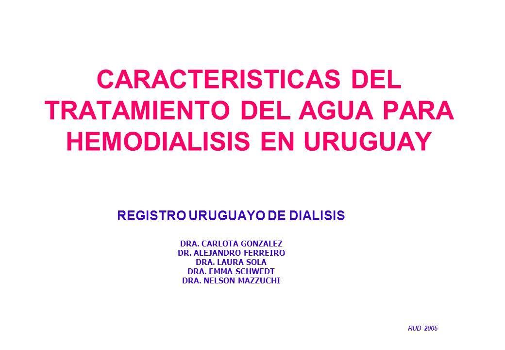 CARACTERISTICAS DEL TRATAMIENTO DEL AGUA PARA HEMODIALISIS EN URUGUAY REGISTRO URUGUAYO DE DIALISIS DRA. CARLOTA GONZALEZ DR. ALEJANDRO FERREIRO DRA.