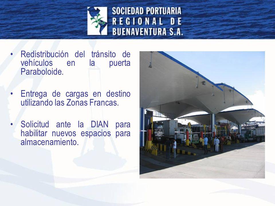 Redistribución del tránsito de vehículos en la puerta Paraboloide. Entrega de cargas en destino utilizando las Zonas Francas. Solicitud ante la DIAN p