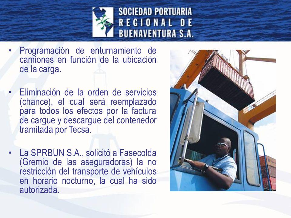 Programación de enturnamiento de camiones en función de la ubicación de la carga. Eliminación de la orden de servicios (chance), el cual será reemplaz
