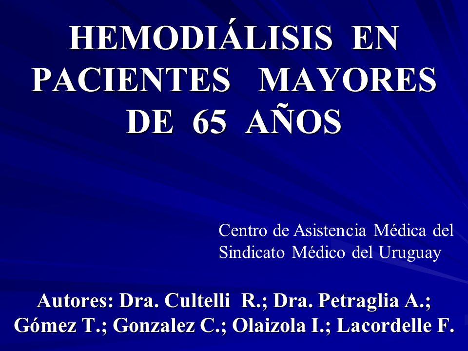 HEMODIÁLISIS EN PACIENTES MAYORES DE 65 AÑOS Autores: Dra. Cultelli R.; Dra. Petraglia A.; Gómez T.; Gonzalez C.; Olaizola I.; Lacordelle F. Centro de