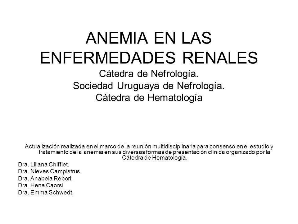 ANEMIA EN LAS ENFERMEDADES RENALES Cátedra de Nefrología. Sociedad Uruguaya de Nefrología. Cátedra de Hematología Actualización realizada en el marco