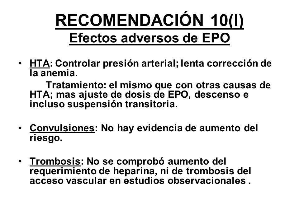 RECOMENDACIÓN 10(I) Efectos adversos de EPO HTA : Controlar presión arterial; lenta corrección de la anemia. Tratamiento: el mismo que con otras causa