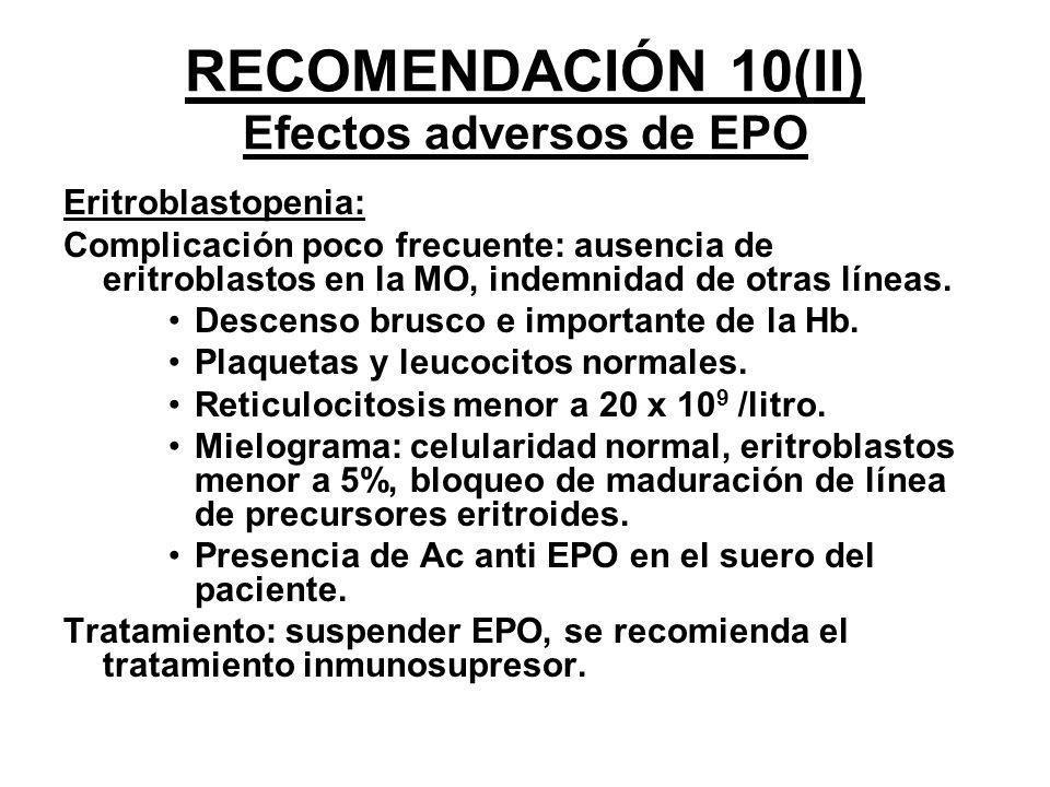 RECOMENDACIÓN 10(II) Efectos adversos de EPO Eritroblastopenia: Complicación poco frecuente: ausencia de eritroblastos en la MO, indemnidad de otras l