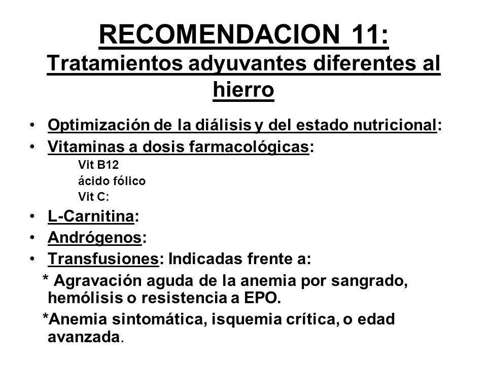 RECOMENDACION 11: Tratamientos adyuvantes diferentes al hierro Optimización de la diálisis y del estado nutricional: Vitaminas a dosis farmacológicas: