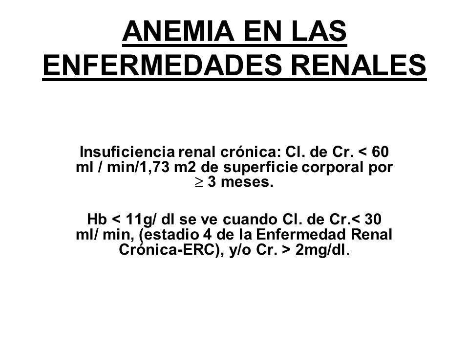 ANEMIA EN LAS ENFERMEDADES RENALES Insuficiencia renal crónica: Cl. de Cr. < 60 ml / min/1,73 m2 de superficie corporal por 3 meses. Hb 2mg/dl.